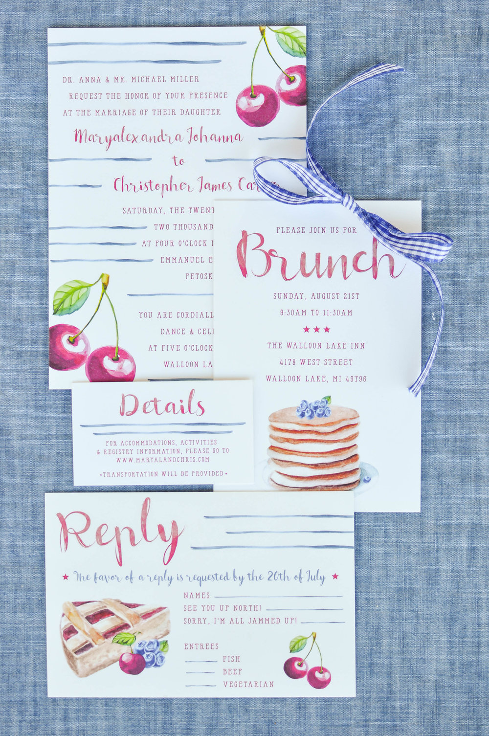 Cute Watercolor Summer Country Wedding Invitations
