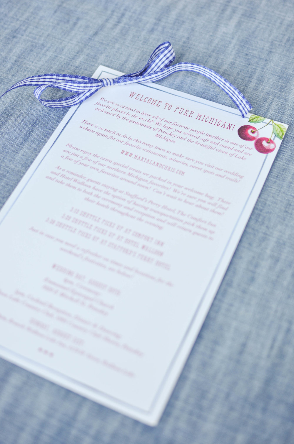 Cute Wedding Weekend Welcome Bag Letter