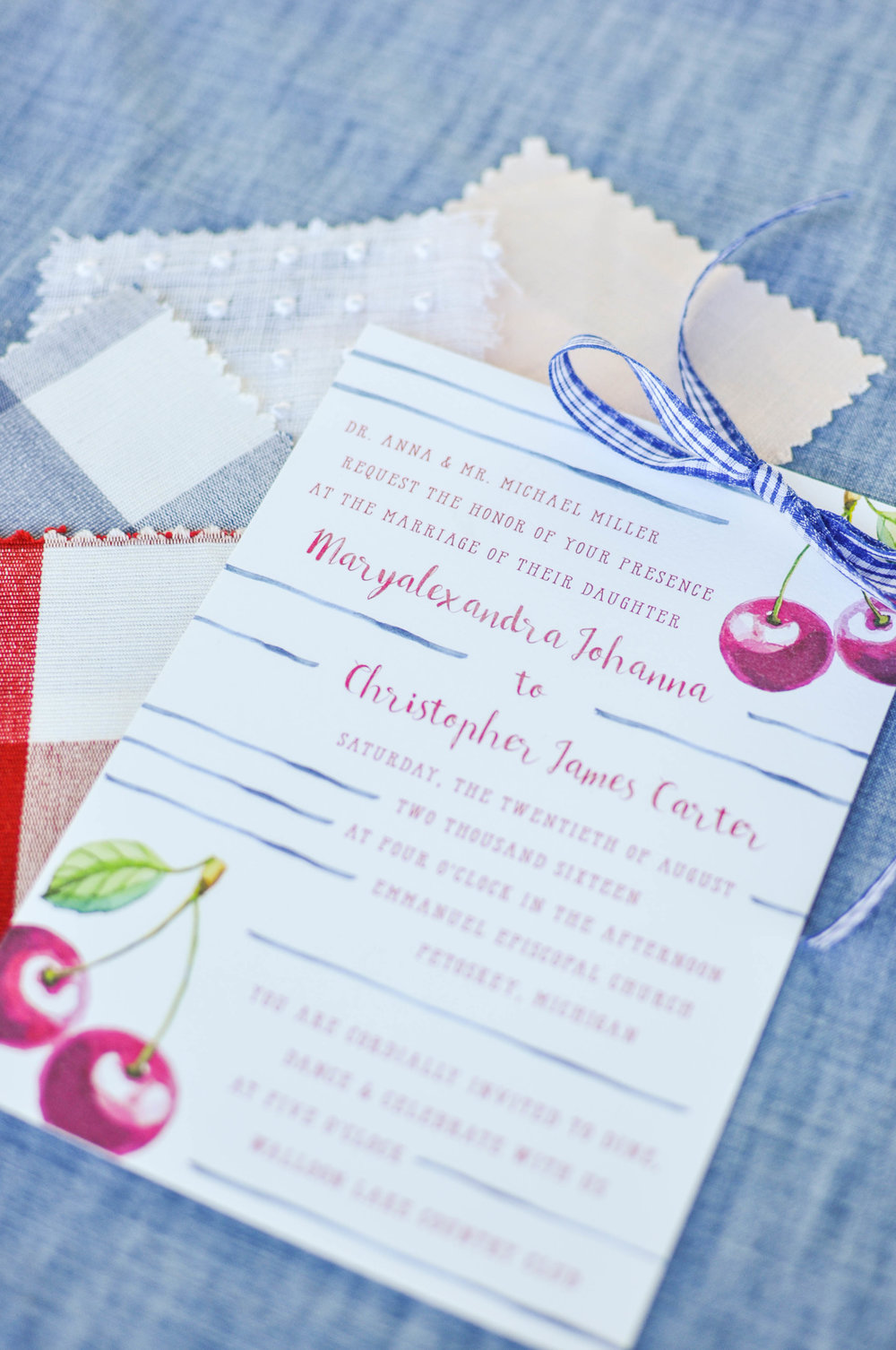 Cute Summer Country Watercolor Wedding Invitations
