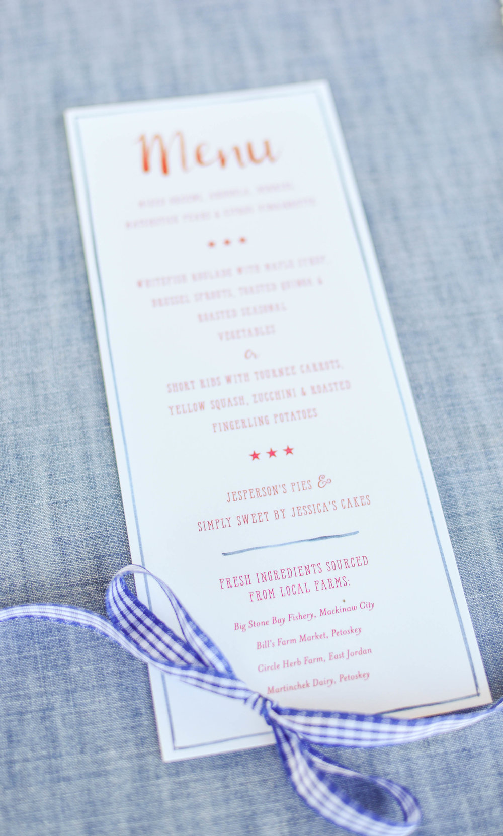 Cute Watercolor Wedding Menu