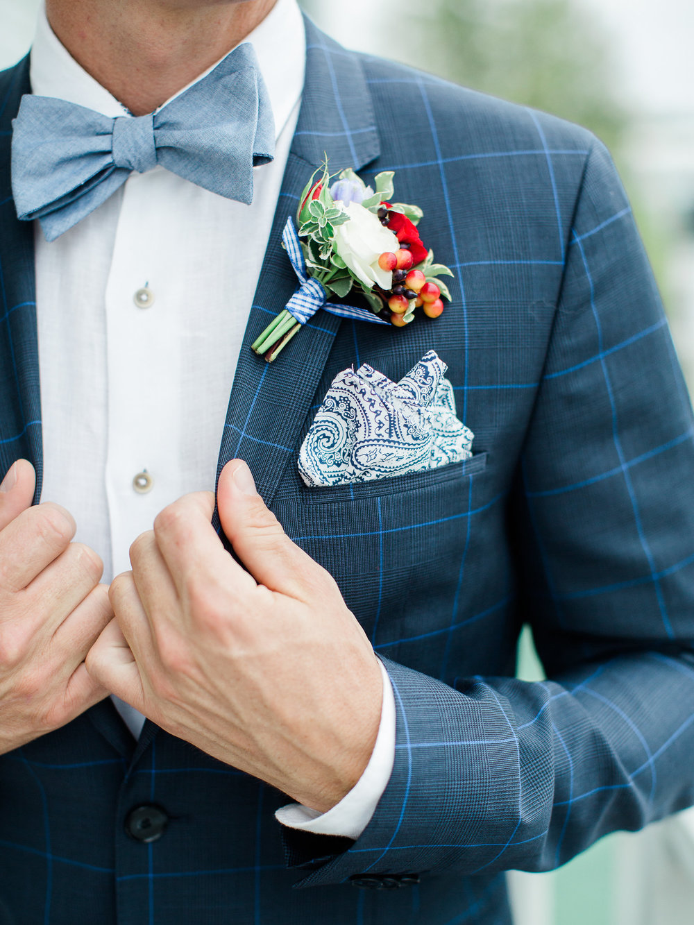 Vintage Blue and White Summer Groom Attire With Bow Tie