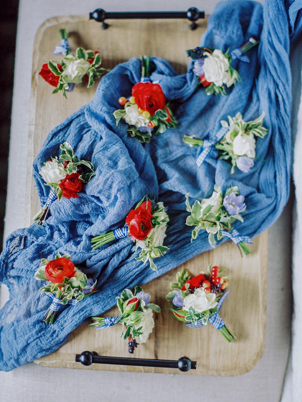 Red, White and Blue Summer Wedding Wildflower Bouquet