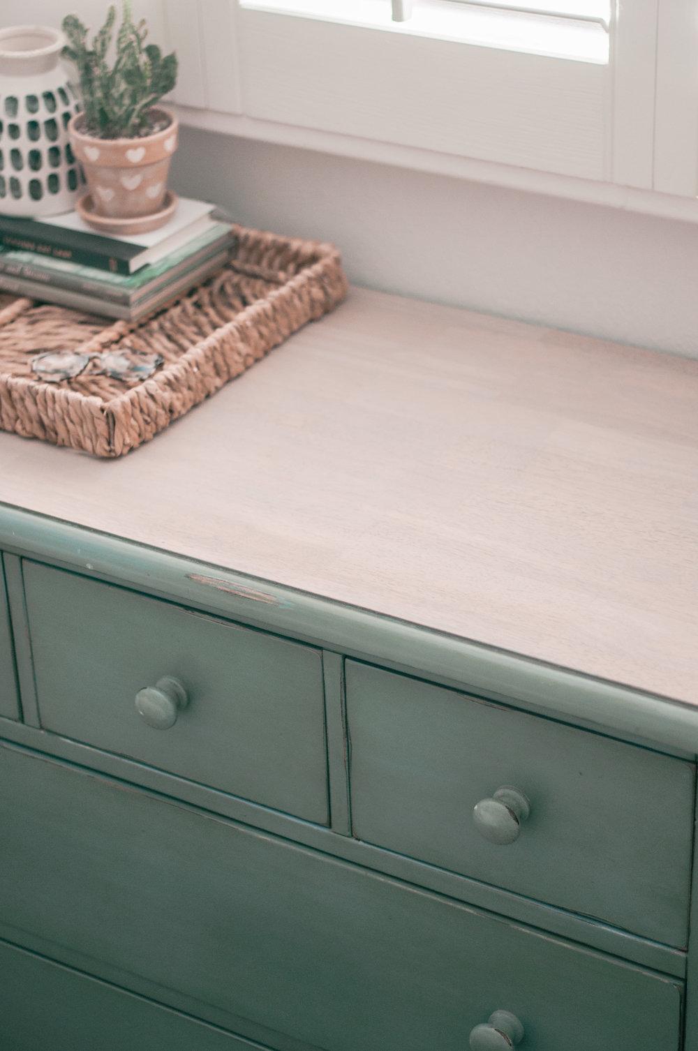 DIY turquoise dresser makeover