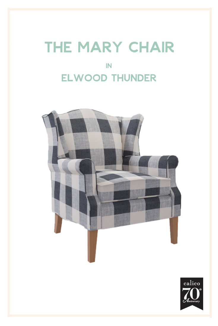 Does this one look familiar? Of course we had to include the classic Mary wing chair in our favorite fabric of all time, Elwood Thunder. As most of you know we have an almost identical chair in our living room (thanks to Calico's impeccable upholstery services) and it's our very favorite piece in our home. This chair just oozes coziness and relaxation and would be such a beautiful, standout piece in so many different rooms. Long live black and white buffalo check!