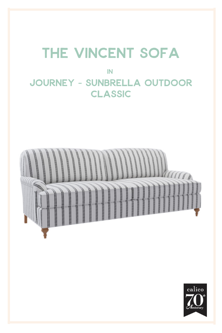 Another performance fabric wonder that's as fun and fabulous as it is durable! The Vincent Sofa is so simple and elegant, which is why the personality-packed Journey - Sunbrella Outdoor - Classic fabric with its beautiful white backdrop and dotted black stripes is the perfect fabric to bring this piece to life. Have you ever seen a more fun (and functional) sofa?!