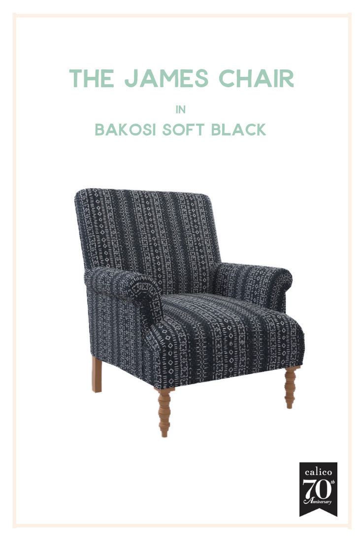 Cozy, moody and 100% fabulous is how I describe the James Chair covered in the unique and versatile Bakosi Soft Black fabric. This frame was made for showcasing character-packed fabrics like this one, creating a memorable accent piece for any room on its own, or a showstopping living space centerpiece when deployed in pairs. I love how cozy, casual and inviting every inch of this chair is! The hygge is real with this one.