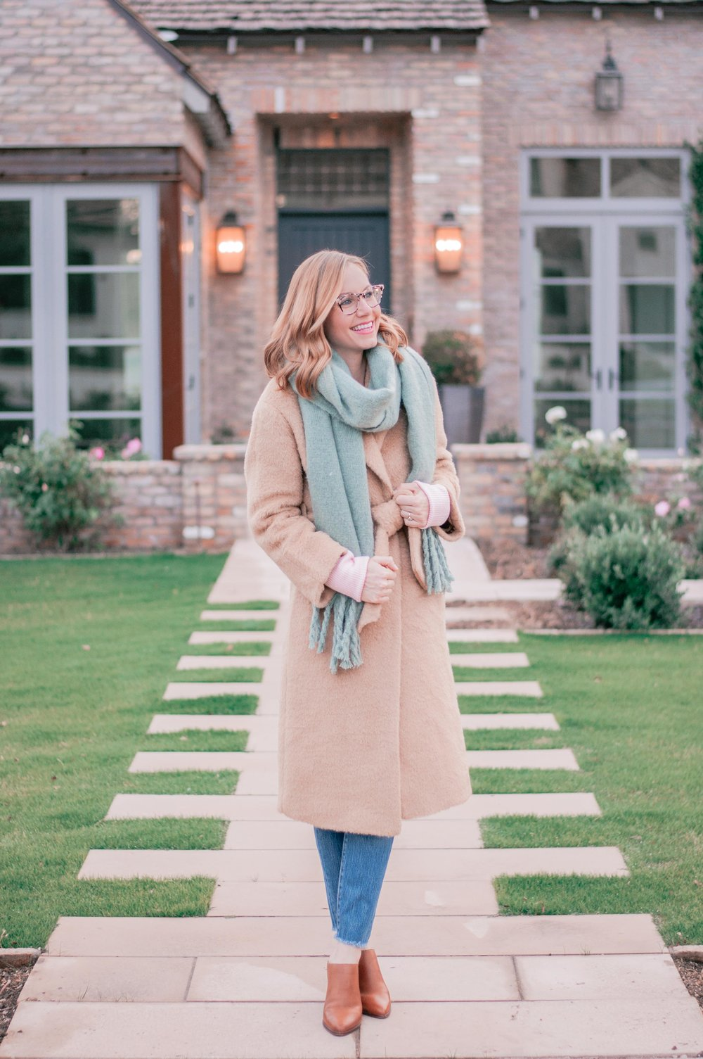 Whistles Textured Belted Coat in Camel