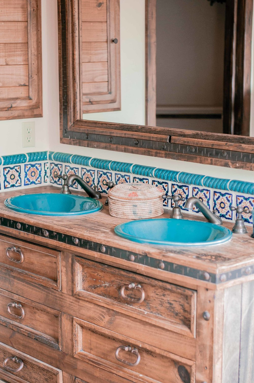 Rustic Bathroom with Mexican Tile