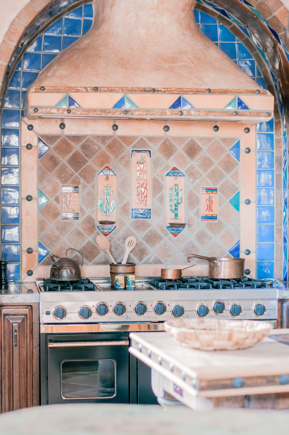 Rustic Kitchen with Mexican Tile and Adobe Vent Hood