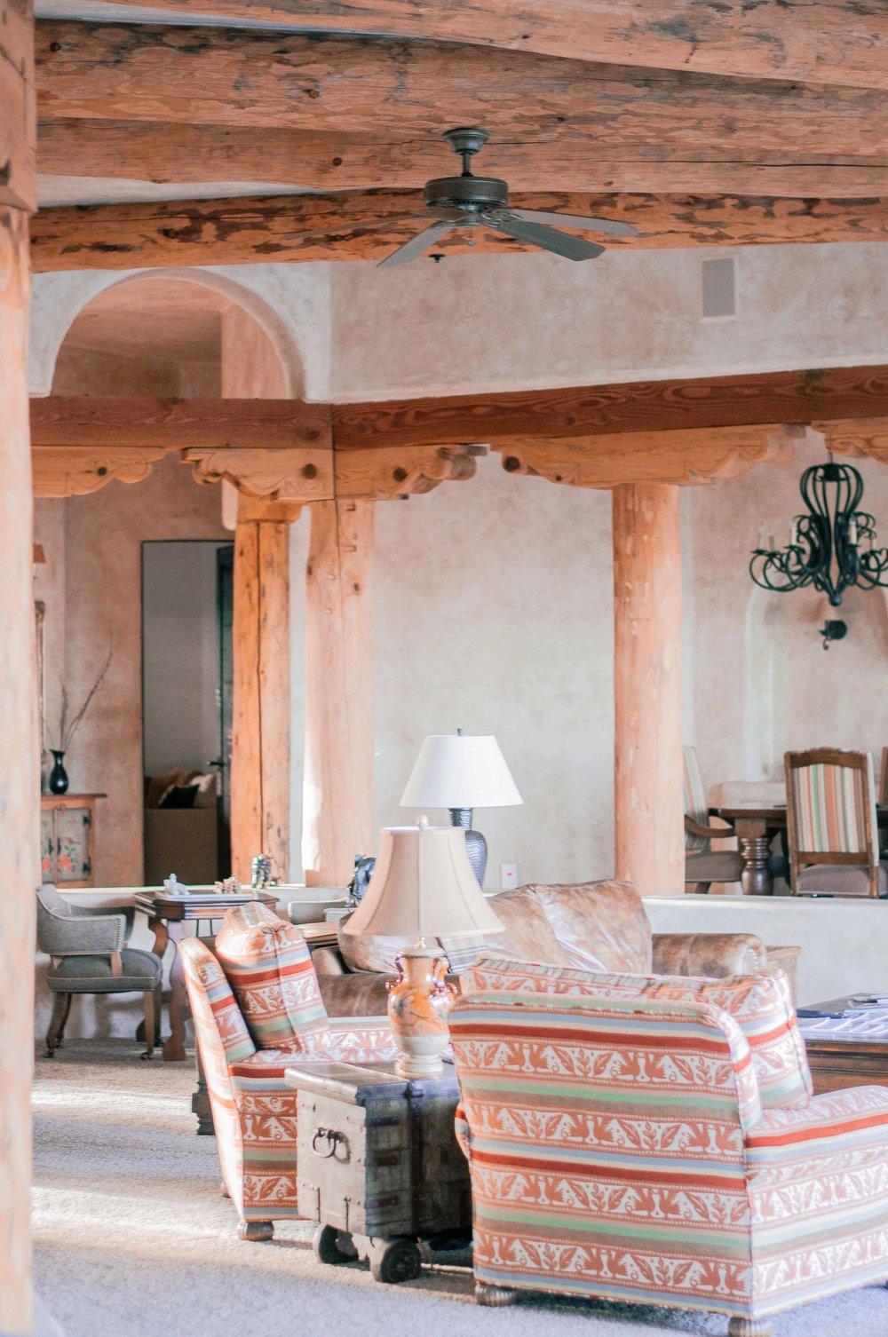 Rustic Wood Beams in Living Room