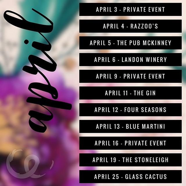 April dates are up... I'm blessed to be busy! I've got events on my Facebook page and up on my website (link in bio!) 4/4 - Razzoo's in Lewisville with New Ground 4/5 - The Pub McKinney with @amir_matthew ON HIS BIRTHDAY 🥳 4/6 - solo at Landon Winery in Greenville 4/11 - Solo at The Gin in prosper 4/12 - Four Seasons with Big City Trio 4/13 - Blue Martini with New Ground 4/19 - Solo at The Stoneleigh 4/25 - Glass Cactus with Big City Outlaws