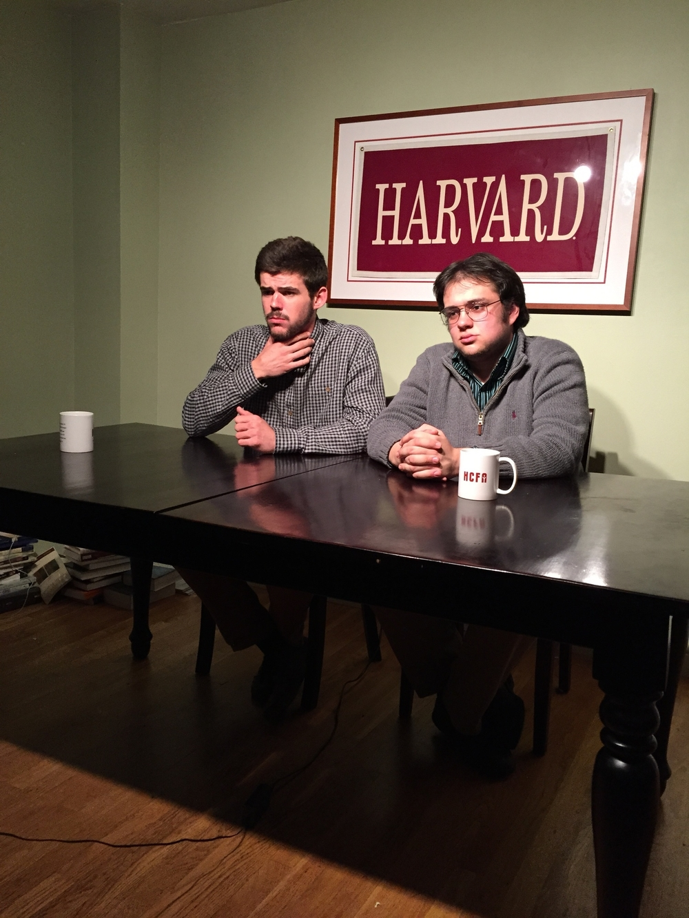 Brett Henderson '17 and Al Fernandez '17 put their game face on as they prepare to film another episode of Doxa Talk.