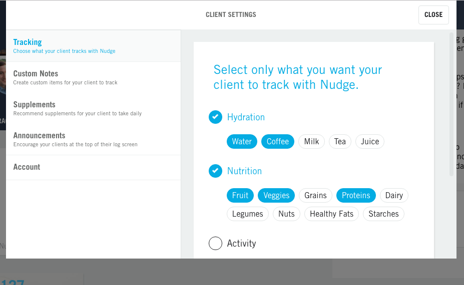 Complex Client fitness tracking Setup