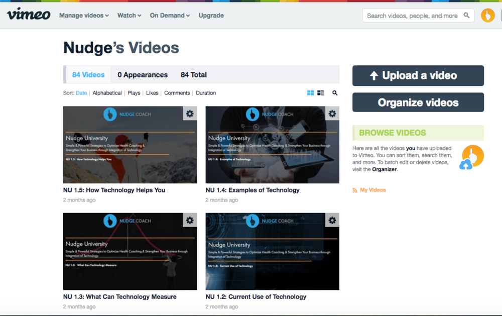 Several videos we uploaded into Vimeo for our online training course