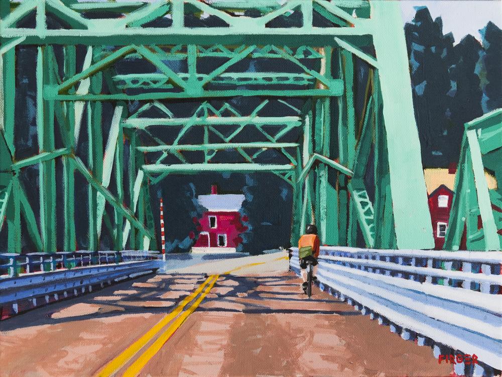 Rocks Village Rider - 12 x 16, Acrylic on Canvas