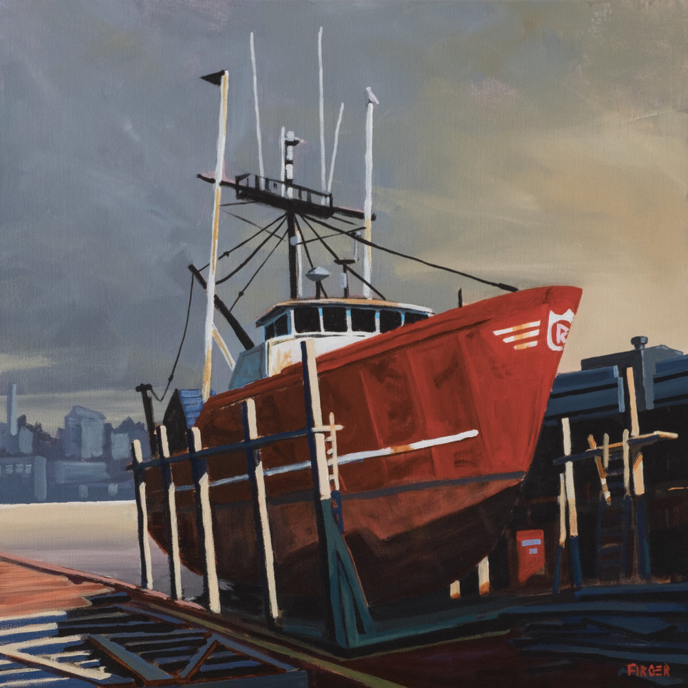 Drydocked in Gloucester - 24 x 24, Acrylic on Canvas (SOLD)