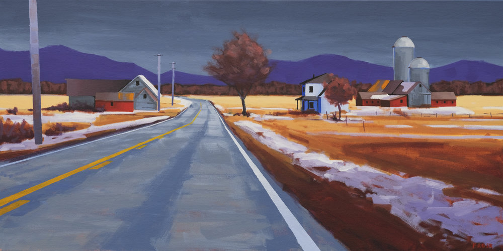 December in the Champlain Valley - 18 x 36, Acrylic on Canvas (SOLD)