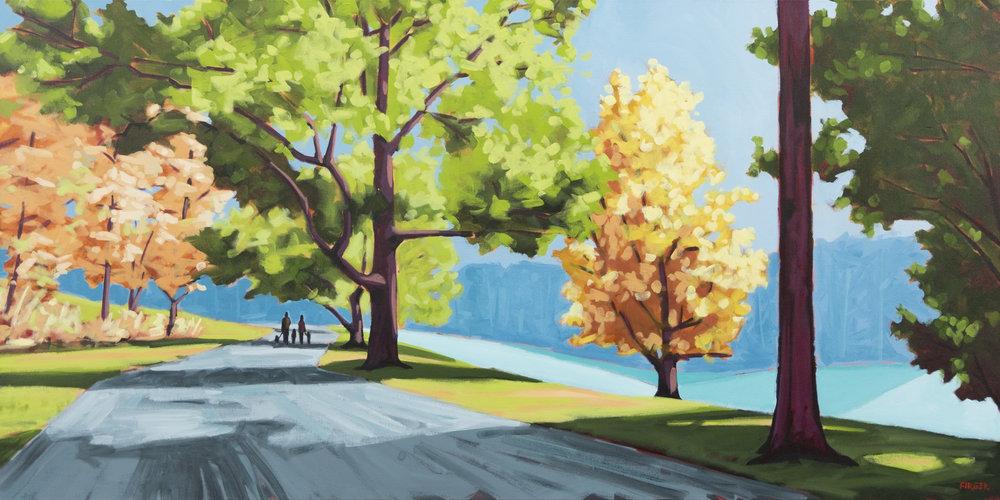 Sunrise at Arnold Arboretum - 36 x 72, Acrylic on Canvas (SOLD)