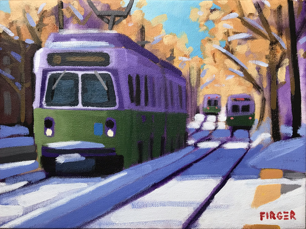 Outbound Snow - 9 x 12, Acrylic on Canvas (SOLD)