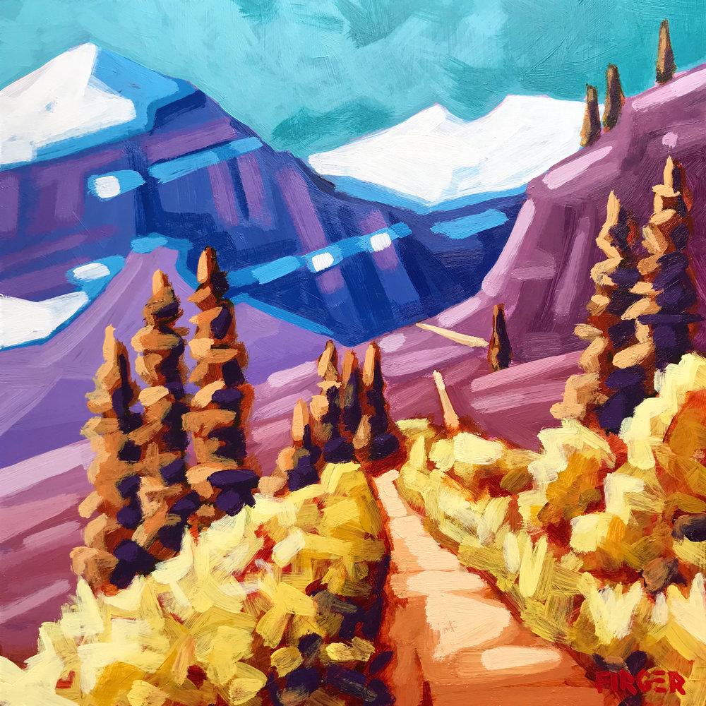 Gaining Elevation, Lake Louise - 10 x 10, Acrylic on Panel
