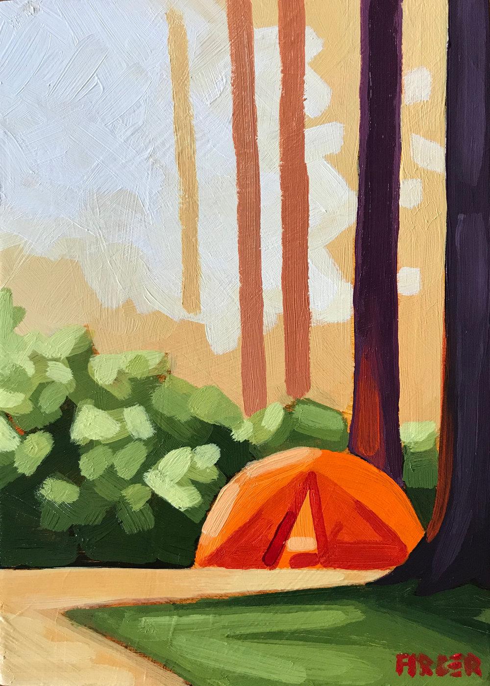 Campsite Sunrise - 5 x 7, Acrylic on Panel