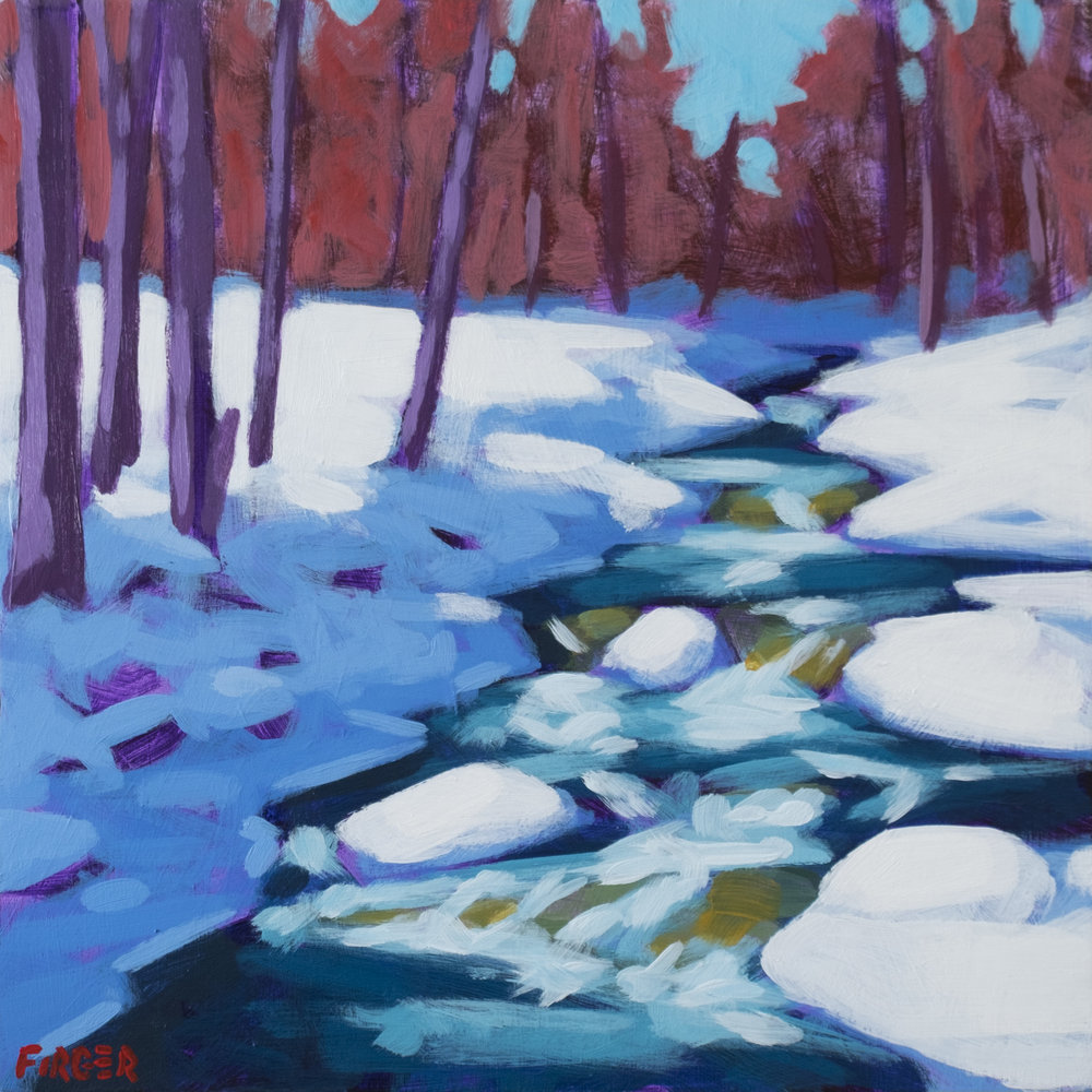 White Mountain Brook - 10 x 10, Acrylic on Panel (SOLD)