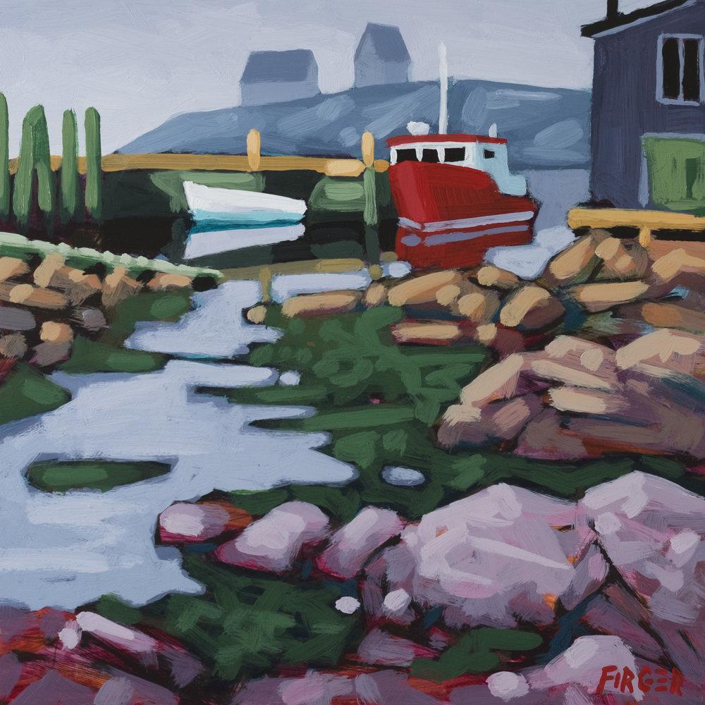 Maritime Village - 10 x 10, Acrylic on Panel