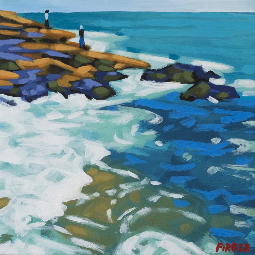 East Coast Rocks - 8 x 8, Acrylic on Panel