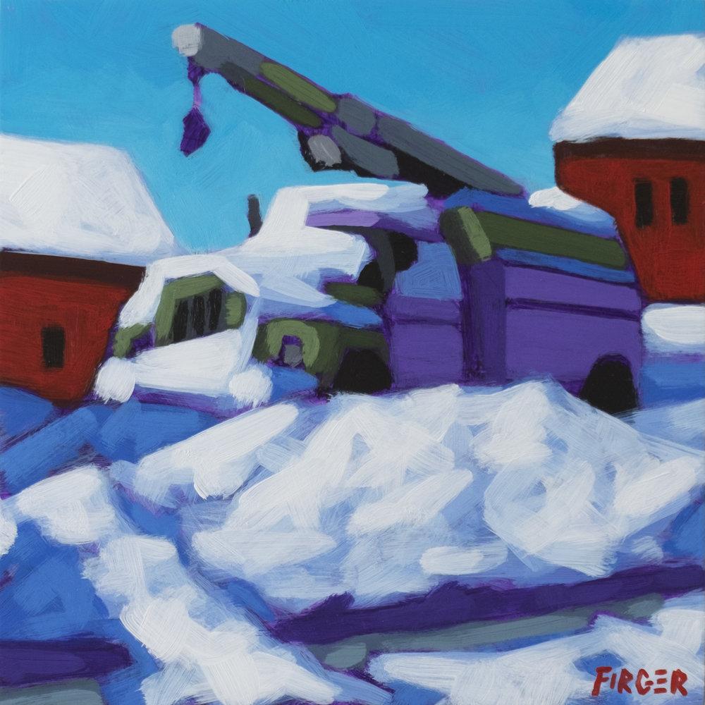 Snow Day 8 x 8, Acrylic on Panel
