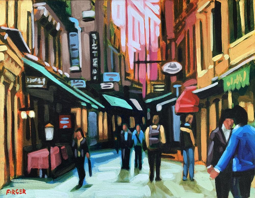 Confetti Storefronts, Venice, Italy - 14 x 18, Acrylic on Canvas