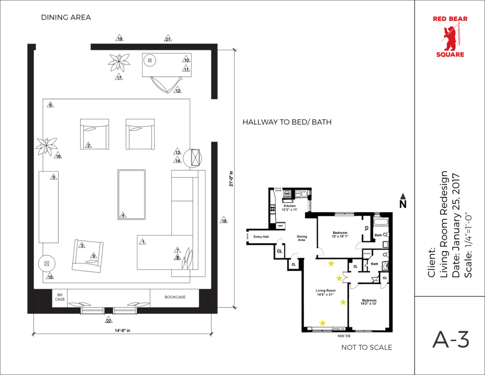 Furniture Floorplan with Dimensions and Notes