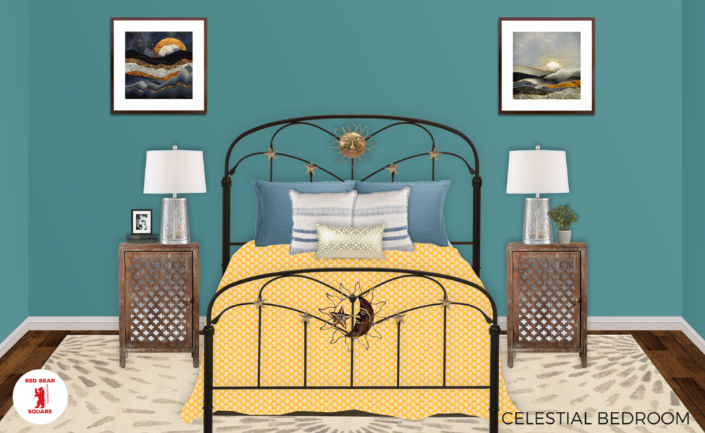 Turquoise Bed Wall Teal Red Bear Square SM.PNG