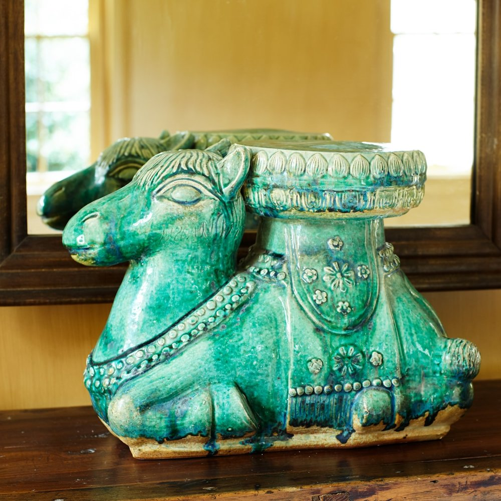 Glazed Green Ceramic Camel