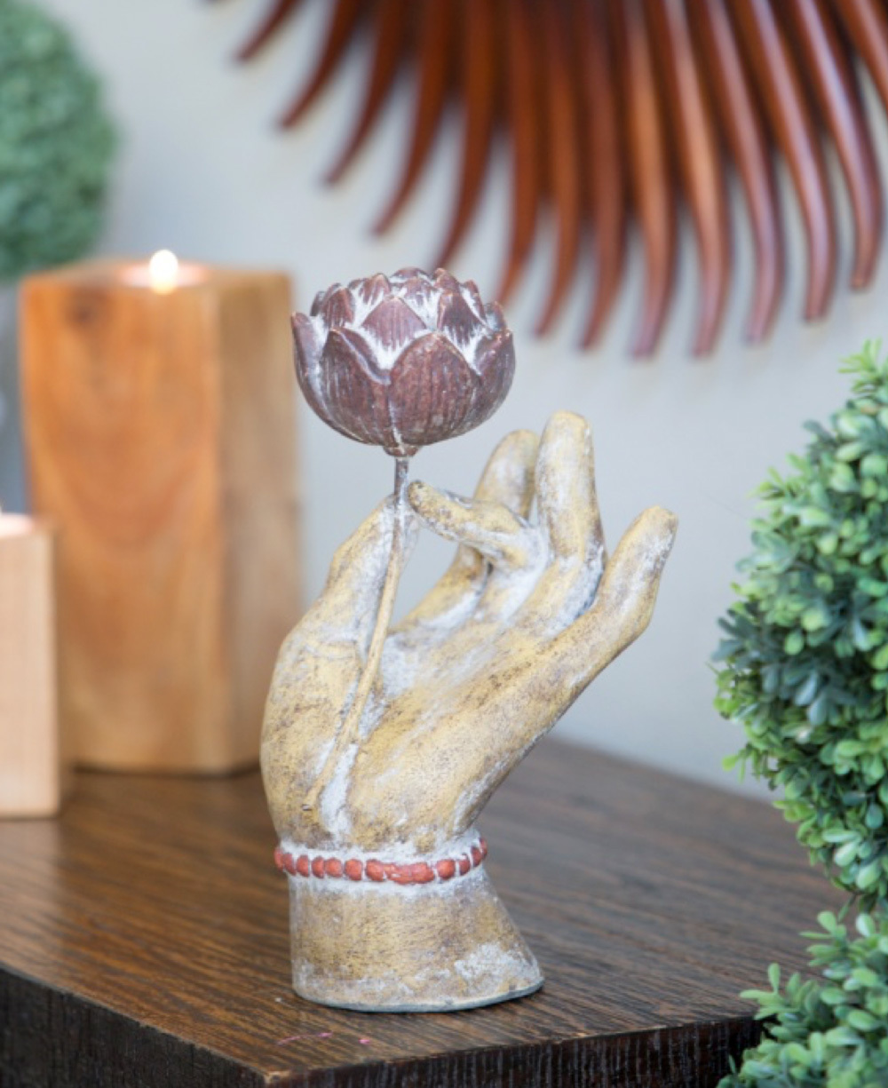 Mudra Hand and Lotus Garden Statue
