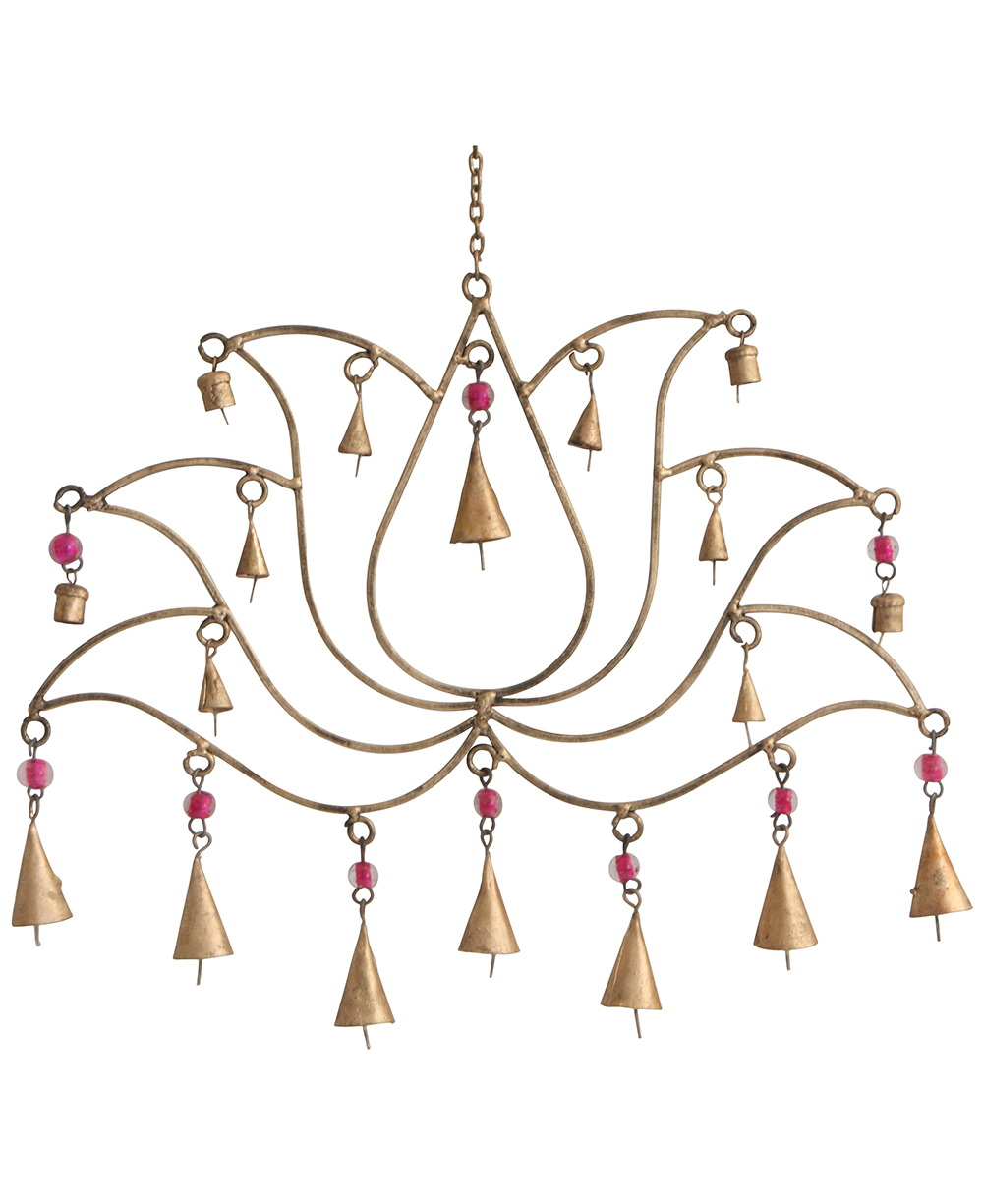 Pink Beaded Lotus Chime