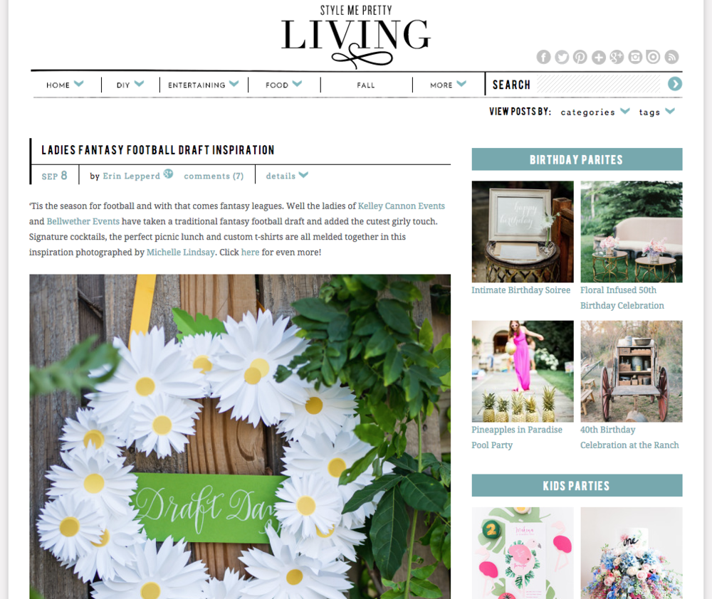 Featured on Style Me Pretty Living | Ladies Draft Day Styled Shoot | B Floral and Event Design