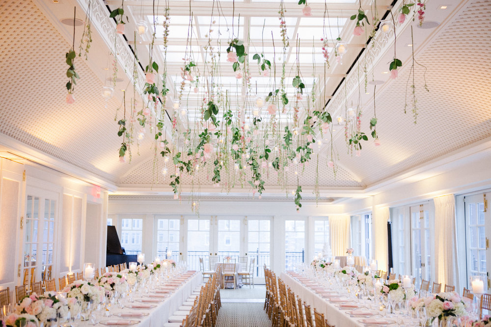 Suspended flowers at the Hay Adams hotel by B Floral DC