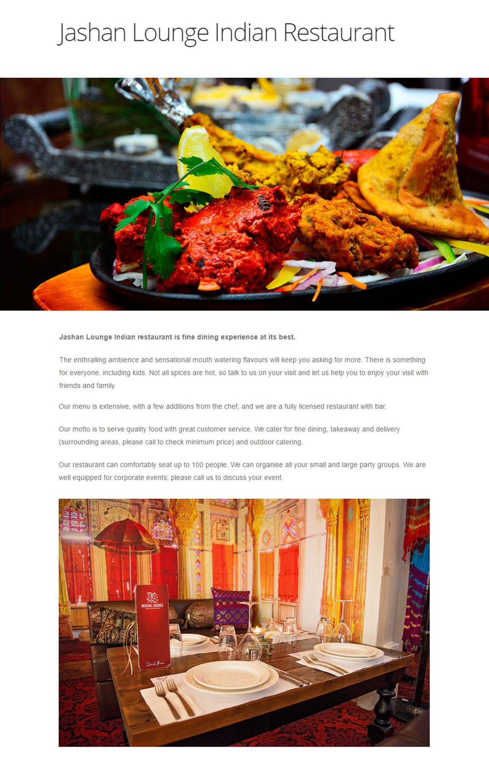 Jashan Lounge Indian Restaurant in Focus Magazine -