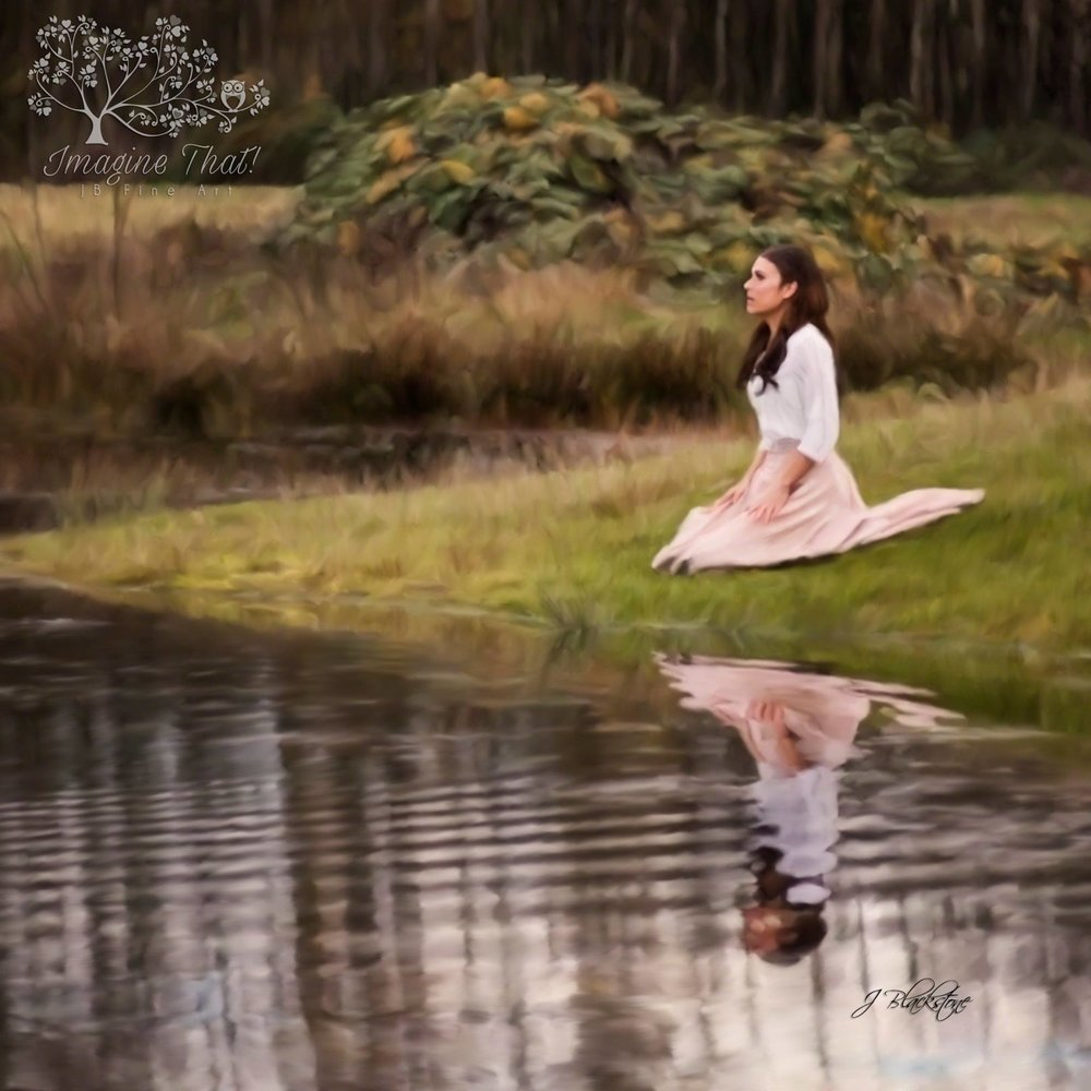 """...she sank to her knees by the edge of the pond. In the middle of her sadness, she ceased her tears..."" Painted in oil by Jordan Blackstone, Original Image from Crown Media"