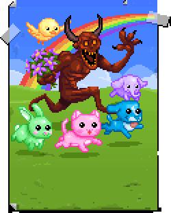 A hellshocker runs through green fields with his pinata friends!