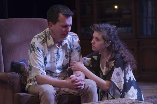 Jack (John Kooi) and Sonya (Maria DeCotis,CFA'15)in  Uncle Jack at Boston University Playwrights' Theatre.