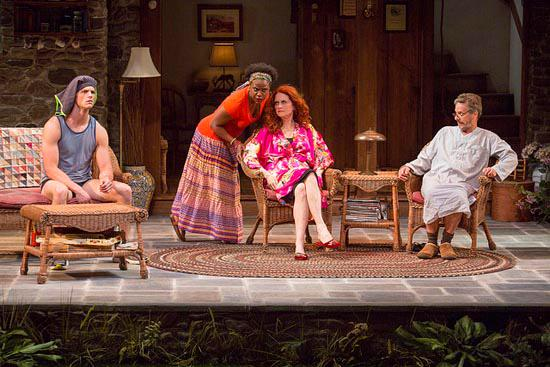 Cassandra (Haneefah Wood) instructs Masha (Candy Buckley) while Vanya (Martin Moran) and Spike (Tyler Lansing Weaks) observe in The Huntington Theatre Company's Vanya and Sonia and Masha and Spike (Photo credit: Jim Cox).