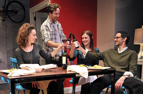 Claire (Marianna Bassham), Max (Brian Hastert), Elena (Chelsea Diehl), and Alex (Nael Nacer) toast to their friendship in the world premiere of Ken Urban's A Future Perfect . (Photo credit: Craig Bailey/Perspective Photo).