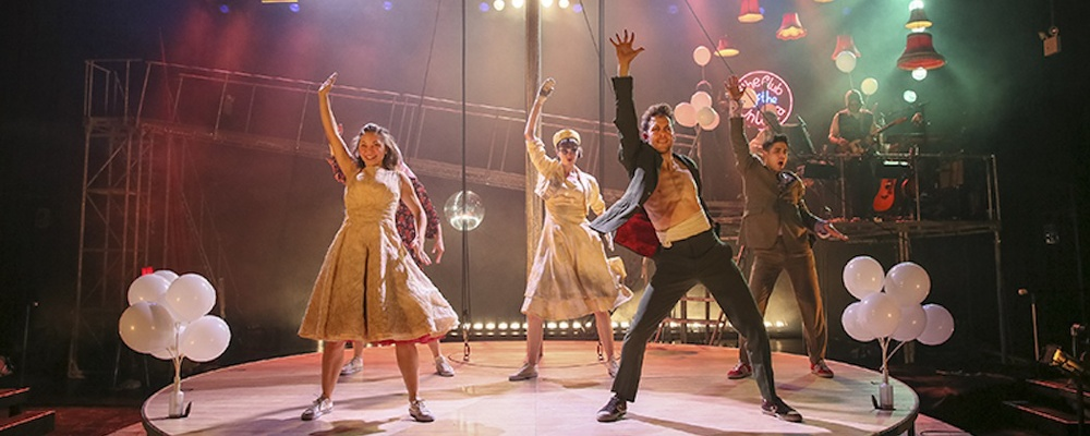 Hannah Vassallo (Yseult), kirsty Woodward (Whitehands), Dominic Marsh (Tristan), and Damon Daunno (Frocin) in Kneehigh's  Tristan y yseult  (ArtsEmerson). Photo by Richard Termine.