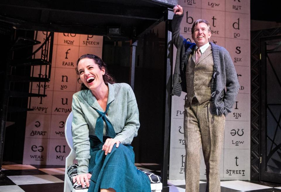 Eliza Doolittle (Jennifer Ellis) and Henry Higgins (Christopher Chew) share a delightful moment in the Lyric Stage Company of Boston's My Fair Lady (Photo by Aram Bognosian for the Boston Globe).