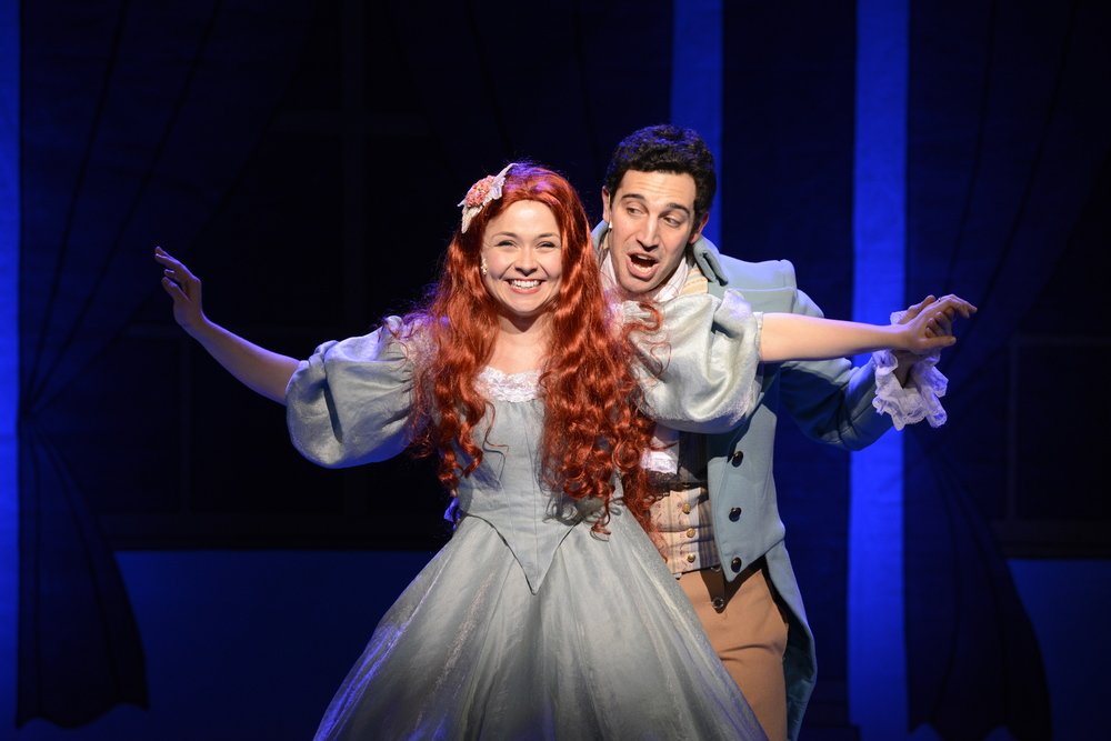 Jesse Lynn Harte as Ariel and Jared Troilo* as Prince Eric share a moment of dance and love (Photo Courtesy of Fiddlehead Theatre Company/Eric Antoniou). *Denotes a member of Actors' Equity Association.