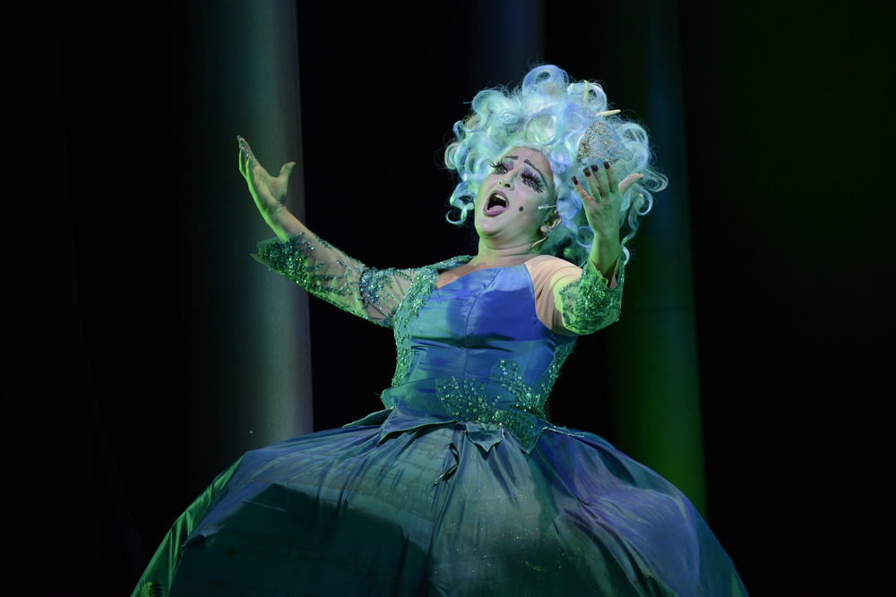 "Shana Dirik* as Ursula sings about the ""Poor Unfortunate Souls"" (Photo Courtesy of Fiddlehead Theatre Company/Eric Antoniou). * Denotes a member of Actors' Equity Association."