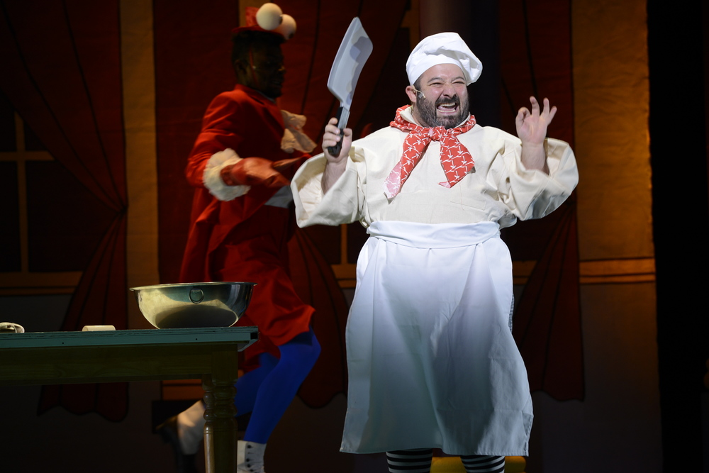 "Andy Papas* as Chef Louis sings ""Les Poissons"" in his hilarious pursuit of a lost crab (Photo Courtesy of Fiddlehead Theatre CompaNY/ERIC ANTONIOU). * DENOTES A MEMBER OF ACTORS' EQUITY ASSOCIATION."