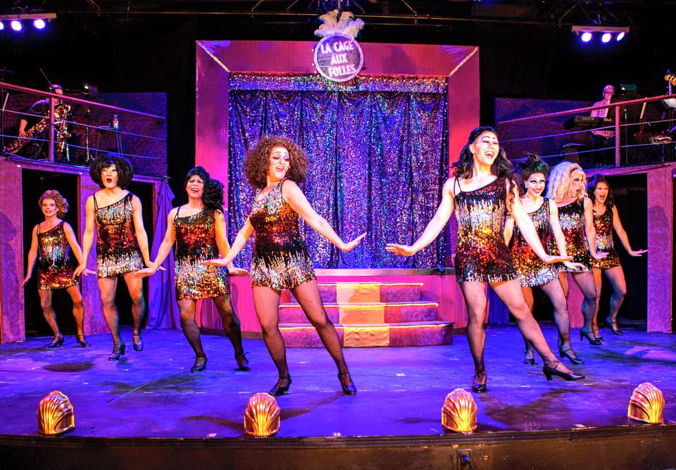 The Cagelles dance at the club in The Umbrella's La Cage Aux Folles (Photo Credit: Al Ragone).