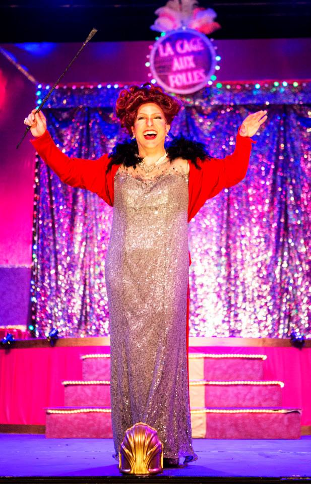 Zaza, also known as Albin (Todd Yard) welcomes us to The Umbrella's La Cage Aux Folles (Photo Credit: Al Ragone).